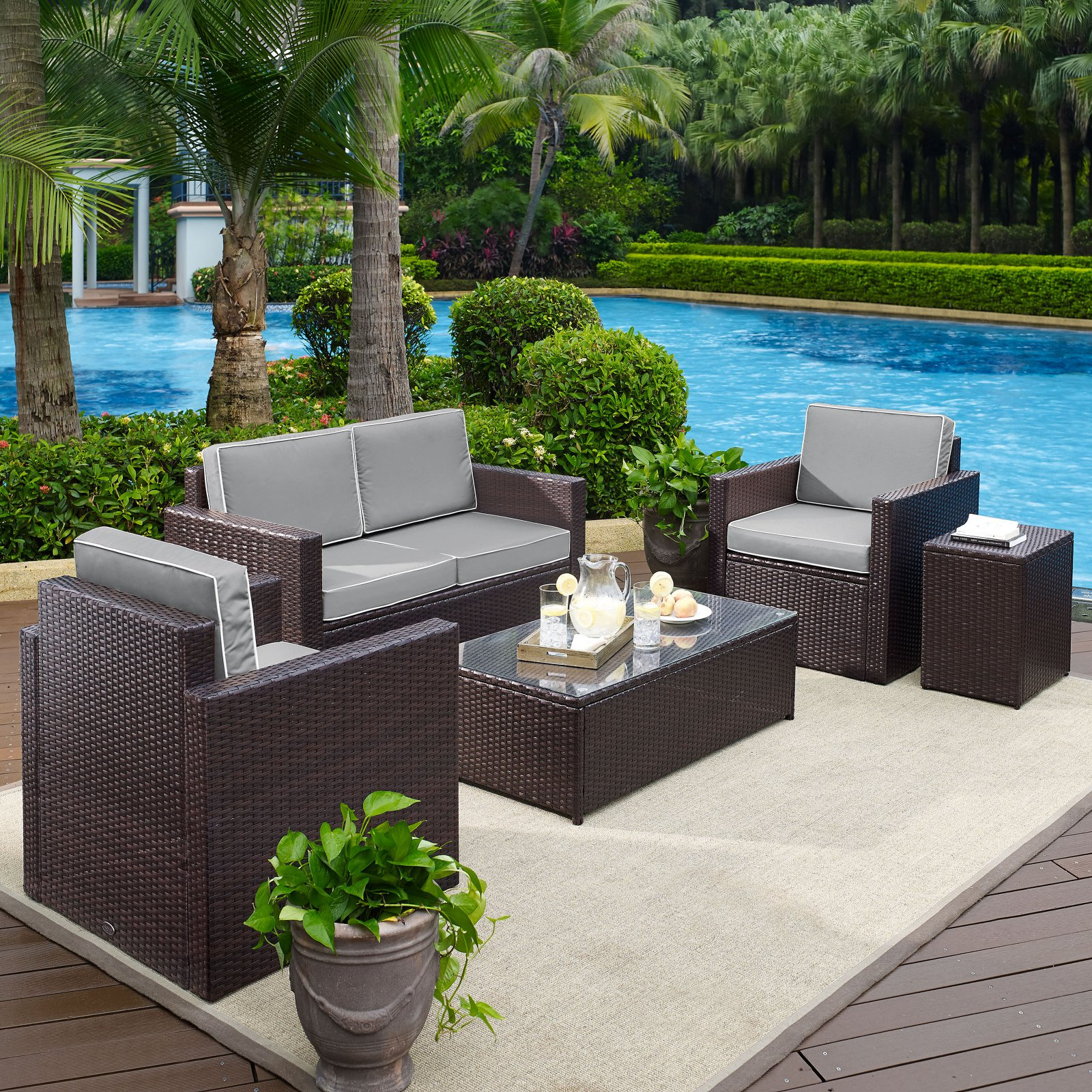Crosley Furniture KO70053BR-GY Palm Harbor 5-Piece Resin Wicker Outdoor Seating Set (Brown/Grey)