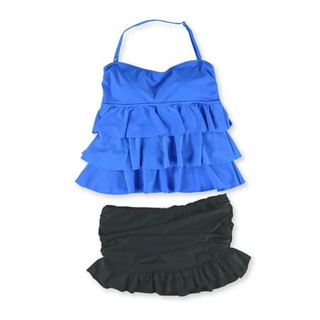 (Island Escape Womens Tier Ruffle Skirt 2 Piece Tankini)