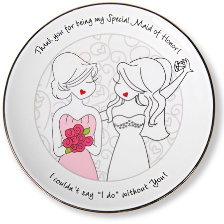 Pavilion - Maid of Honor Gift Ceramic Jewelry Dish 5 Inch (Maid Shoes)