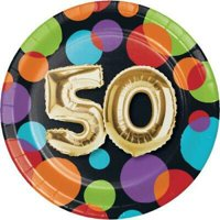1PK Gold Balloon 50th Birthday 7-inch Plates ,Item per pack: 8per pack