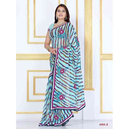 Alaknanda sky blue Georgette Designer Party Wear Sari saree (Indian Sarees Blouse)