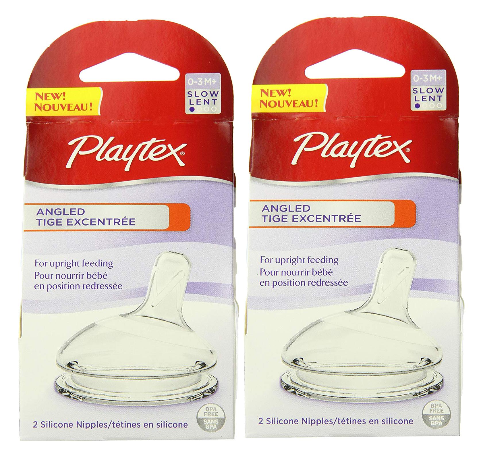 Playtex Angled Nipple, Slow Flow, 2 count, 2 Pack