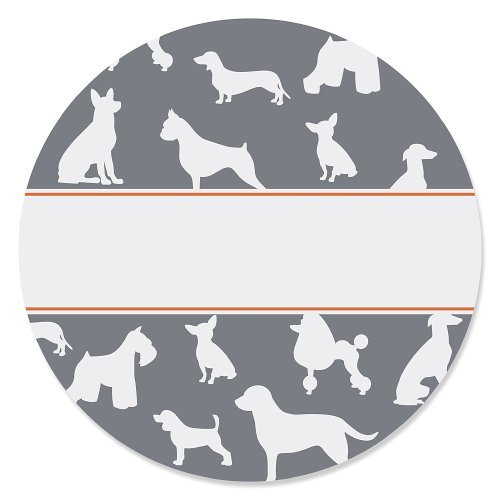 Dog Silhouettes - Party Circle Sticker Labels- 24 Count