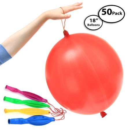 Halloween Punch Ball Balloons (50-Pack of Jumbo Punching Ball Balloons for Parties - Inflates Up To 18
