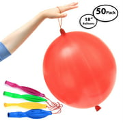 """50-Pack of Jumbo Punching Ball Balloons for Parties - Inflates Up To 18"""" Inch - Assorted Beautiful Colors - 100% Pure Latex - Safe for Children and Adults - Long Neck for Easy Inflation and Tying"""