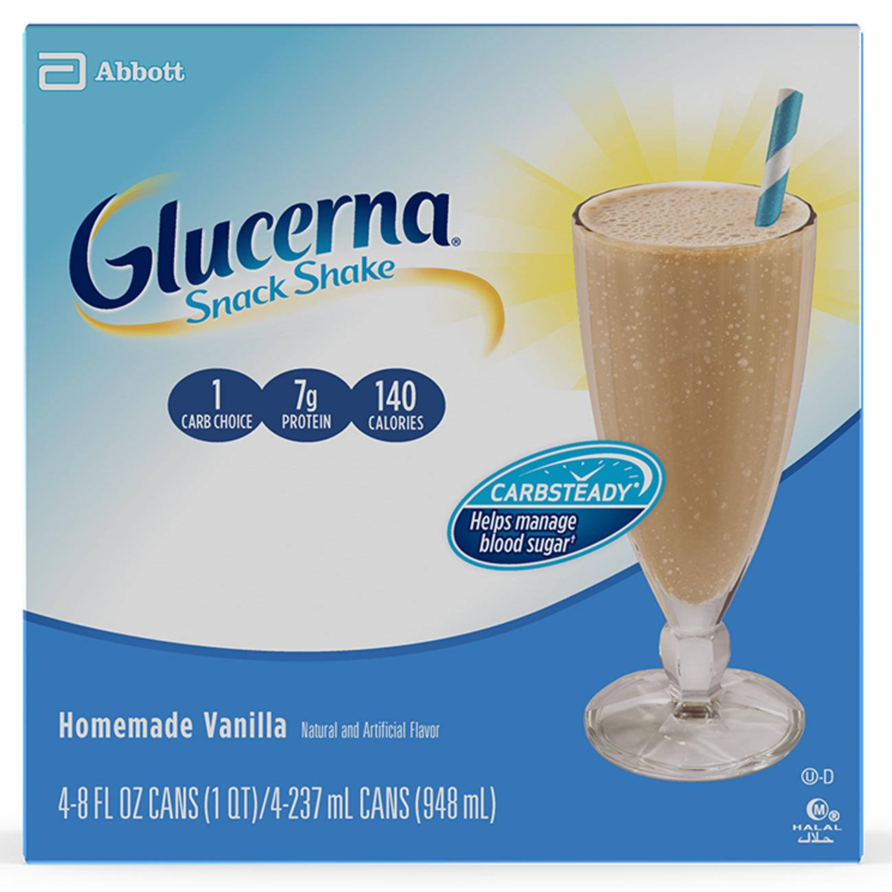 Glucerna Snack Shake, To Help Manage Blood Sugar, Homemade Vanilla, 8 Oz, 4 Ct