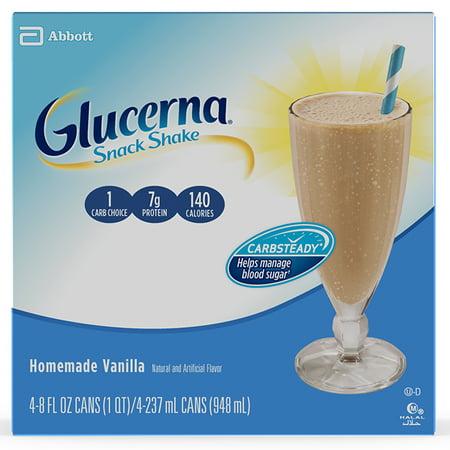 Glucerna Snack Shake Nutrition Shake Homemade Vanilla To Help Manage Blood Sugar 8 fl oz Cans (Pack of 4) (Homemade Halloween Snack Ideas)