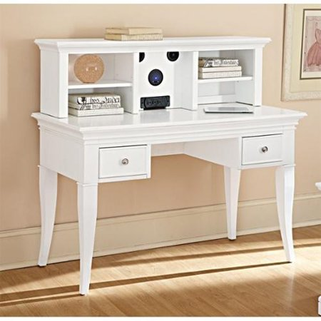 ne kids walnut street desk with hutch and chair in white