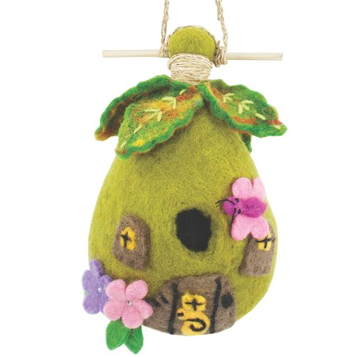 Global Crafts Fairy Felt 9 in x 5 in x 3 in Birdhouse