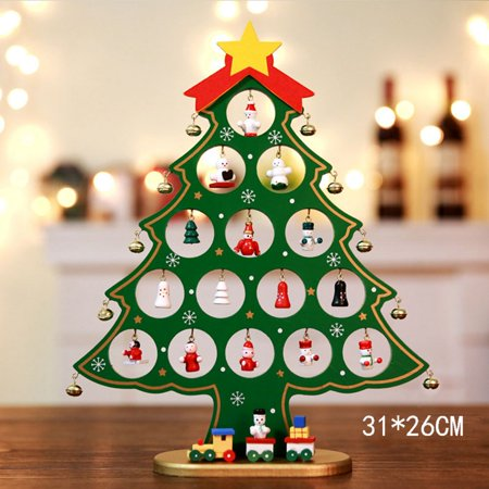 AkoaDa Wooden Christmas Tree, Mini Christmas Tree,Christmas Desk Tree with Miniature Wooden Ornaments for Kids Gift Home Party Decoration(X-Large Green) ()