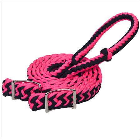 PINK WEAVER 8 FT BRAIDED NYLON BARREL HORSE TACK REINS CONWAY BUCKLE BIT ENDS Buckle End Split Reins