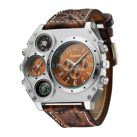 - LAROMNI Men's [Luxury] Military Style Wrist Watch [2 Time Zones / Quartz Movement / Buckle Clasp / Pretty Cool]