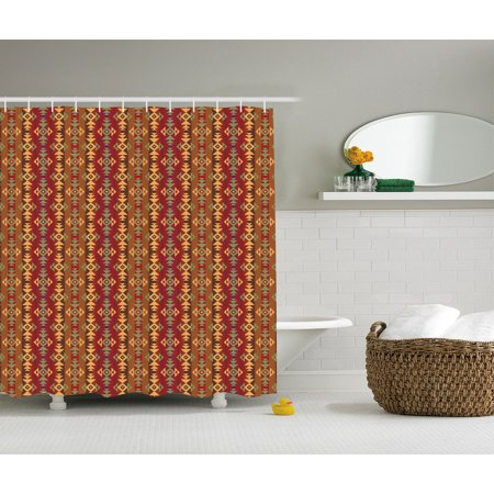 Native American Decor Geometric Striped Ethnic Seamless Cultural Local  Pattern, Bathroom Accessories, 69W X 84L Inches Extra Long, By Ambesonne