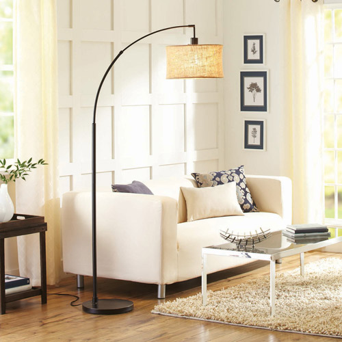 Better Homes and Gardens Burlap Bronze Arc Floor Lamp with CFL Bulb Included
