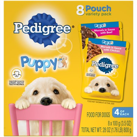 (2 Pack) PEDIGREE CHOICE CUTS Puppy Morsels in Sauce Wet Dog Food Variety Pack With Chicken and With Beef, (8) 3.5 oz. (Best Wet Dog Food For Puppies)