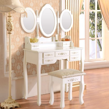Belleze Vanity Set W Stool Amp Drawer Make Up Dressing