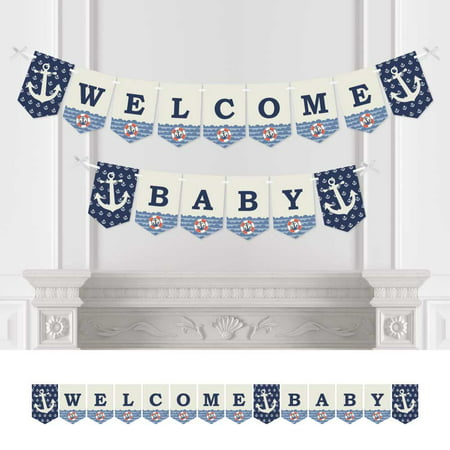 Ahoy - Nautical - Baby Shower Bunting Banner - Anchor Party Decorations - Welcome Baby - Party Decorations Baby Shower