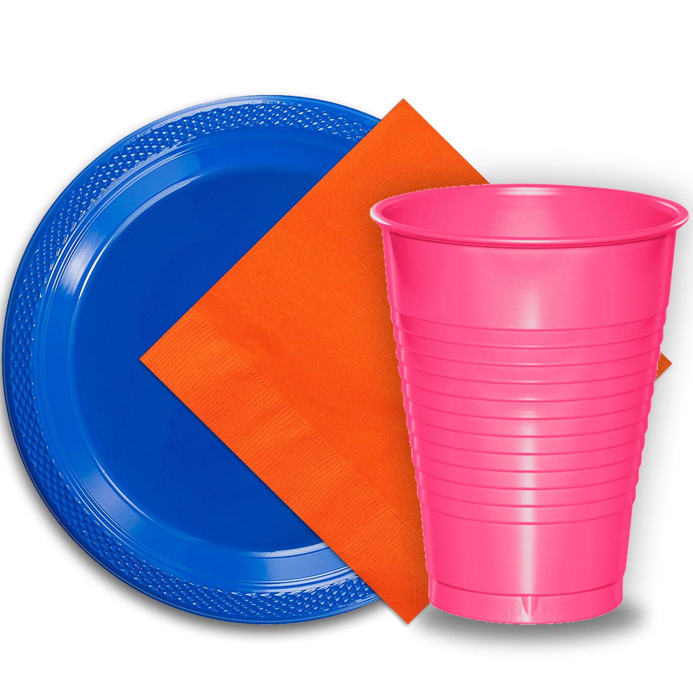 50 Dark Blue Plastic Plates 9 Quot 50 Hot Pink Plastic Cups