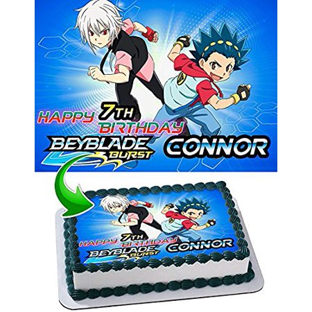 Beyblade Edible Cake Topper Personalized Birthday 1/4 Sheet Decoration Custom Sheet Party Birthday Sugar Frosting Transfer Fondant Image Edible Image for cake (Custom Decorations)