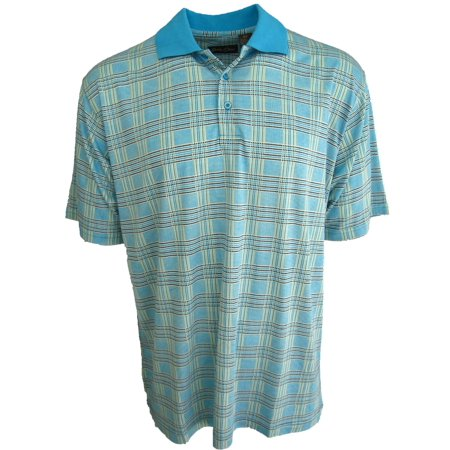 Men's Silk & Cotton Blend Knit Polo Golf Shirt Plaid