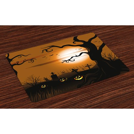 Halloween Placemats Set of 4 Leafless Creepy Tree with Twiggy Branches at Night in Cemetery Graphic Drawing, Washable Fabric Place Mats for Dining Room Kitchen Table Decor,Brown Tan, by Ambesonne - Halloween Cemetery Drawings