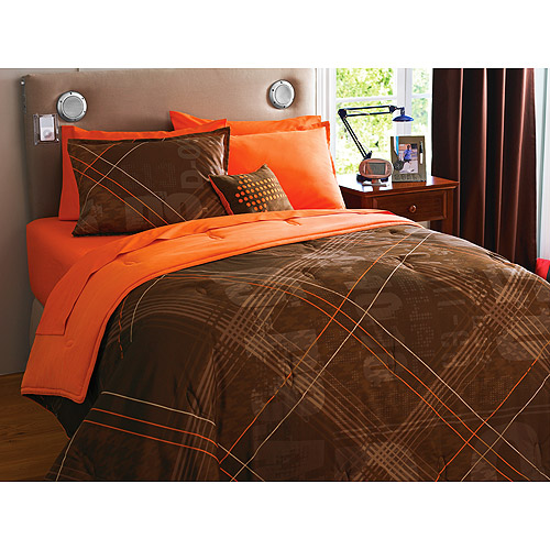 your zone reversible comforter & sham set, brown/recon plaid