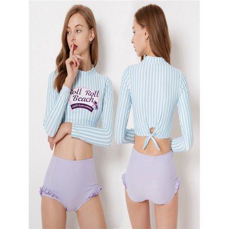 Women Light Blue Sripe Cute Surf Wear Long Sleeve Beach Two Piece Suit Swimwear](Smurf Wear)