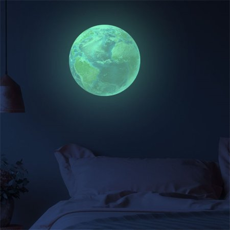 【LNCDIS】30cm 3D Planet Fluorescent Wall Sticker Removable Glow In The Dark (3d Planets Glow In The Dark Instructions)