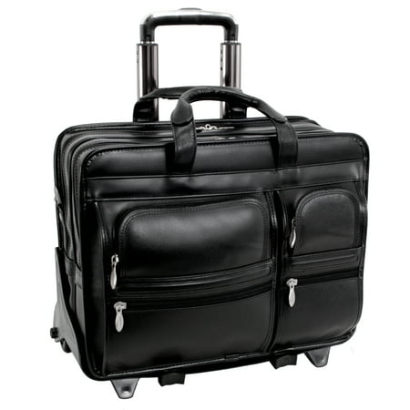 McKlein CLINTON, Patented Detachable -Wheeled Laptop Briefcase, Top Grain Cowhide Leather, Black (88445)