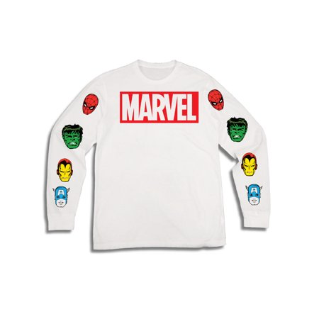 Marvel Comics Men's Superhero Disney Marvel Spiderman Hulk Ironman Captain America Long Sleeve Graphic Tee with Sleeve Prints