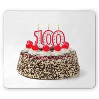 100th Birthday Mouse Pad, Photo of Pastry Party Cake with Candles and Sprinkles Image Celebration, Rectangle Non-Slip Rubber Mousepad, Multicolor, by Ambesonne
