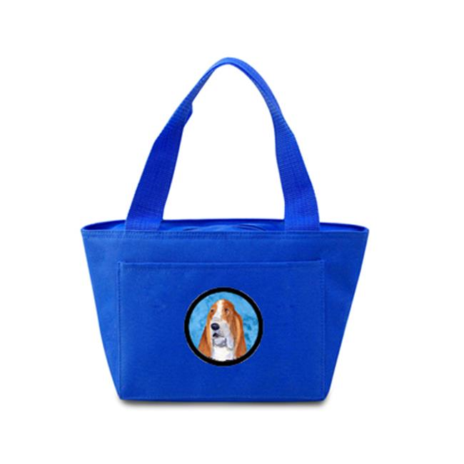 Blue Basset Hound Zippered Insulated School Washable And Stylish Lunch Bag Cooler