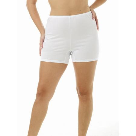 Underworks Women Cotton Trunk Leg Pants 4 Inch Inseam 3 Pack