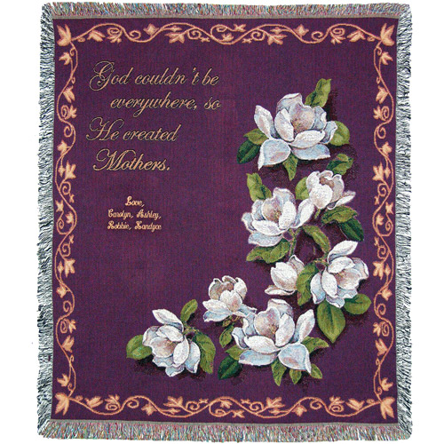 "Personalized Mother's 50"" x 60"" Tapestry Throw, Magnolias"