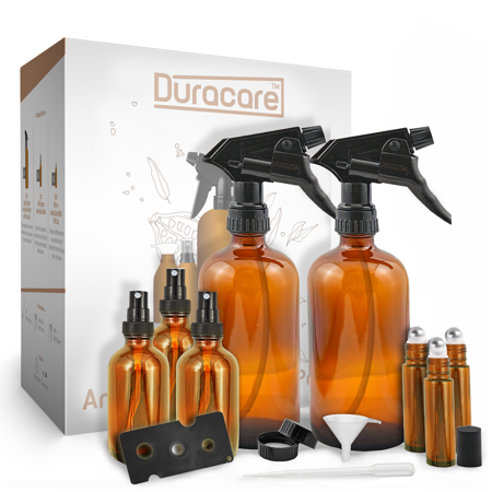 Glass Sprayer - Duracare Amber Glass Spray Bottles, 2-Count - Trigger Sprayers w/ Screw Cap, 3 Mist Sprayers, 3 Stainless Steel Roller Bottles w/ Labels and Washable Marker, Cap, Dropper and Funnel | BPA-free