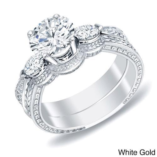 Auriya 14k Gold 4/5ct TDW Diamond Bridal Ring Set (H-I, SI1-SI2) White Gold-Size 4.5