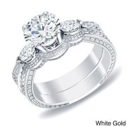 Auriya 14k Gold 4/5ct TDW Vintage Inspired 3-Stone Diamond Engagement Ring Set by