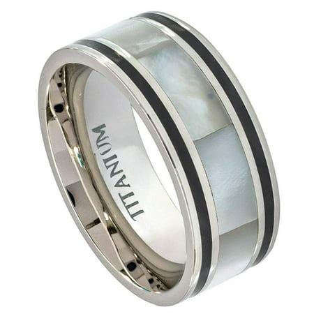 9mm Titanium Pipe Cut with Mother of Pearl Inlay Wedding Band Ring For Men Or Ladies
