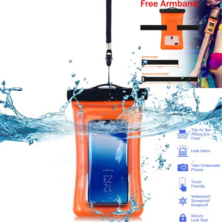 Floating Waterproof Case, AICase Universal Dry Bag Pouch with Armband Neck Strap for iPhone 7 Plus, 6S Plus,7, 6S,6, 5S,Samsung S8 Plus, S8, S7 Edge, S6, S5, S4, Note 5 4, Huawei, Clear/Orange