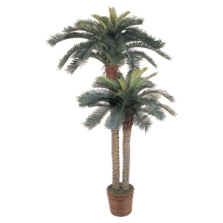 Nearly Natural 6 ft. Sago Palm Double Potted Silk Tree Paradise Silk Palm Tree