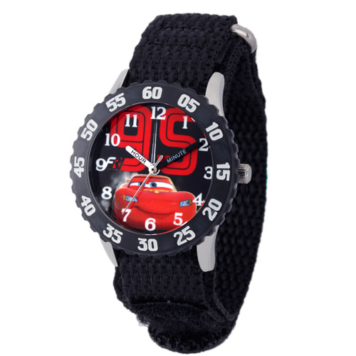 Disney Cars Boys' Stainless Steel with Bezel Watch, Black Nylon Strap