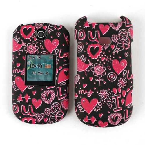 Unlimited Cellular Snap-On Case for Samsung Contour 2/Chrono 2 R270 (Pink Hearts on Black)