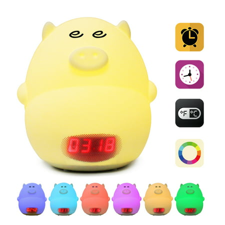GLIME Night Light Alarm Clock for Kids Cute Pig Children Bedrooms Clock USB LED Lights Silicone party decorations & favors Baby Nursery Lamp Color Changing Best