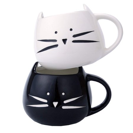 Tayyakoushi 2 Pack Funny Cute Cat Coffee Mugs for Crazy Cat Lovers Christmas Gift Cat Ceramic Cups for Coffee Tea Milk, Black and White ()