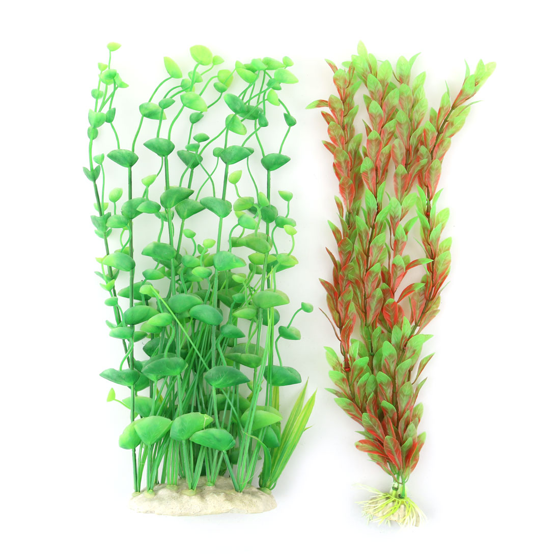 Aquarium Plastic Artificial Landscape Underwater Grass Plant Decor Green 2 in 1