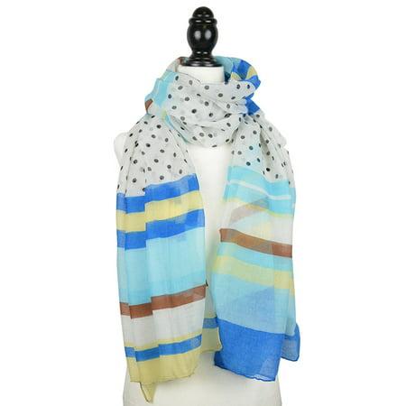 Polka Dot Scarves (Sassy Scarves Women's Lightweight Polka Dot and Stripe Pattern Oblong Fashion)