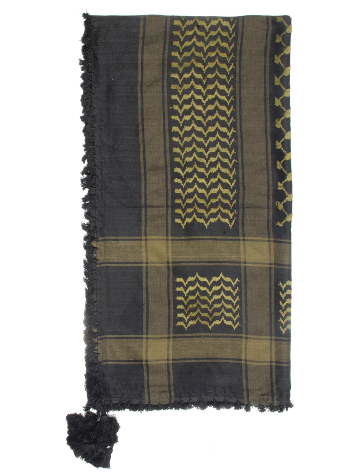 MuslimClothing® Black & Army Green Keffiyeh Men's Muslim Arafat Scarf Shawl Turban Sorban Shawl Turban Sorban
