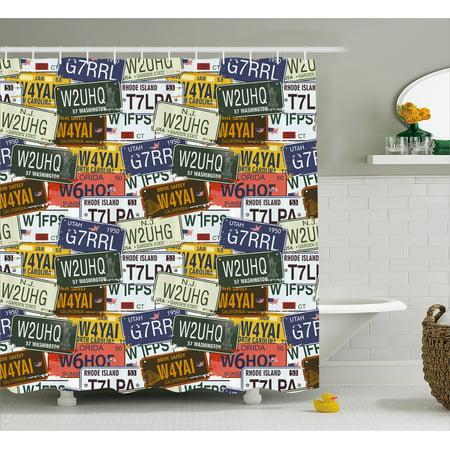 USA Shower Curtain, Retro American Auto License Plates Utah Washington Rhode Island North Carolina Print, Fabric Bathroom Set with Hooks, Multicolor, by Ambesonne