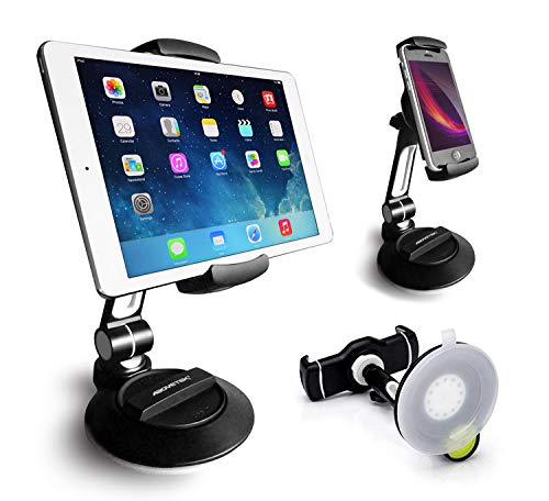Swivel Smartphone Tablet Stand 4-11 iPhone 5 6 7 iPad Mini Air Pro TS-136B AboveTEK Suction Cup Cell Phone Holder Large Sticky Pad Tablet Mount on Kitchen Desk Office Window Bathroom Mirror Car Windshield