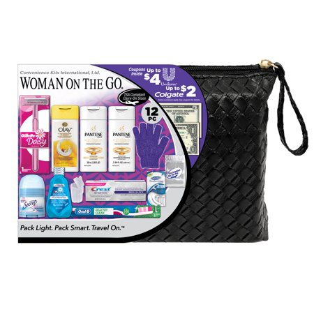 Convenience Kits International, Women's Pantene Premium 12 PC Assembled Travel Kit, TSA Complaint, in Reuseable Toiletry Zippered Bag w/ Handle: Featuring: Pantene Shampoo and Pantene -